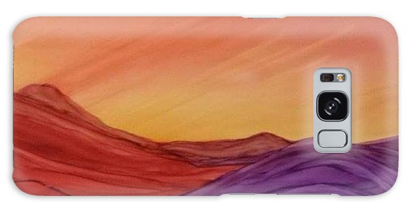 Sunset On Red And Purple Hills Galaxy Case