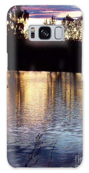 Sunset On River Galaxy Case