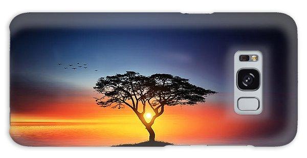 Sunset On The Tree Galaxy Case by Bess Hamiti