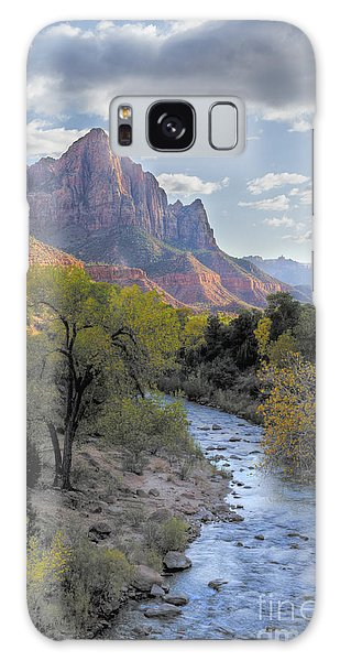 Sunset On The Watchman Galaxy Case by Sandra Bronstein