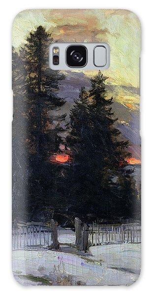 Rustic Galaxy Case - Sunset Over A Winter Landscape by Abram Efimovich Arkhipov