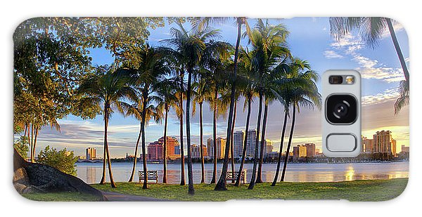 Sunset Over Downtown West Palm Beach From Palm Beach Island Galaxy Case