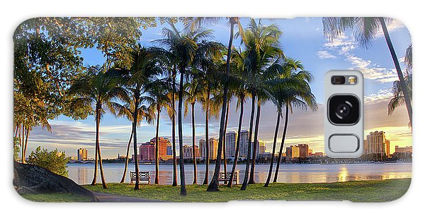 Sunset Over Downtown West Palm Beach From Palm Beach Island Galaxy Case by Justin Kelefas