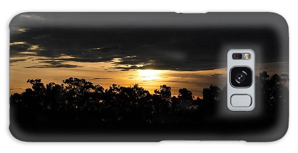Sunset Over Farm And Trees - Silhouette View  Galaxy Case