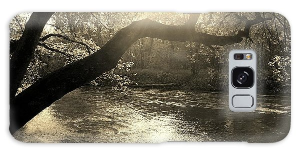Sunset Over Flat Rock River - Southern Indiana - Sepia Galaxy Case