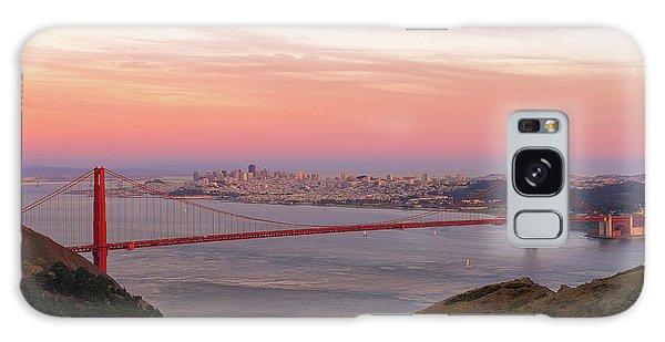Sunset Over Golden Gate Bridge And San Francisco Skyline Galaxy Case