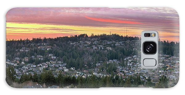 Galaxy Case - Sunset Over Happy Valley Residential Neighborhood by David Gn