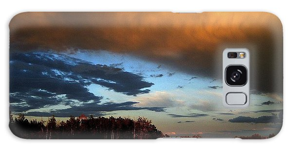 Sunset Over Hayfield Galaxy Case by Shirley Sirois