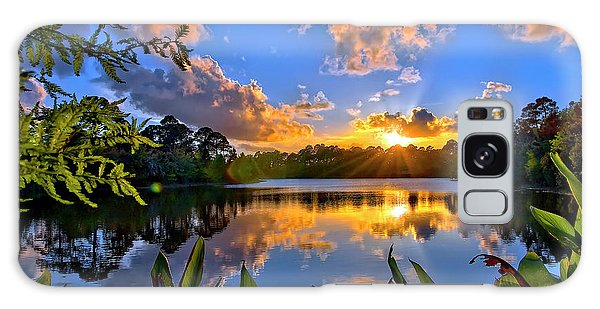 Sunset Over Hidden Lake In Jupiter Florida Galaxy Case