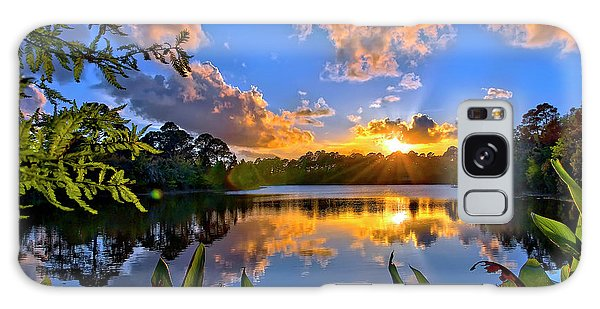Sunset Over Hidden Lake In Jupiter Florida Galaxy Case by Justin Kelefas