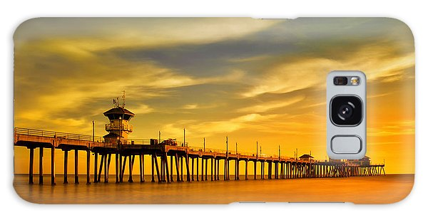 Sunset Over Huntington Beach Pier Galaxy Case