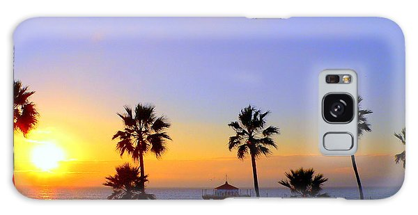 Sunset Over Manhattan Beach Galaxy Case by Jeff Lowe