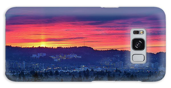 Sunset Over Marquam Hill Galaxy Case