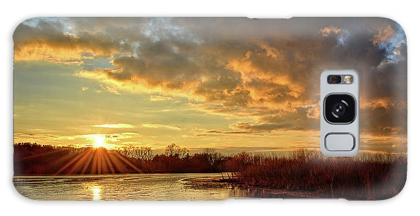Sunset Over Marsh Galaxy Case by Bonfire Photography