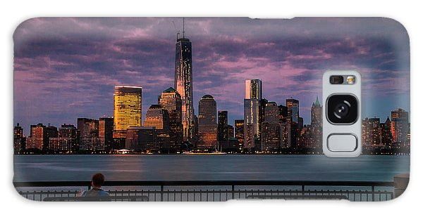 Sunset Over New World Trade Center New York City Galaxy Case