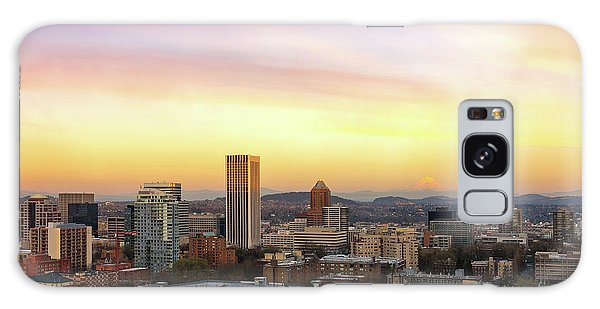 Sunset Over Portland Cityscape And Mt Hood Galaxy Case