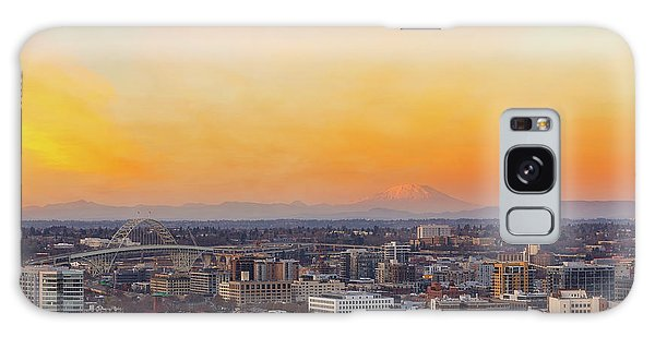 Sunset Over Portland Cityscape And Mt Saint Helens Galaxy Case