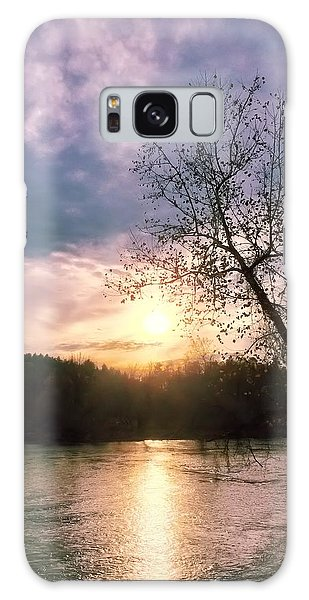 Sunset Over River Galaxy Case