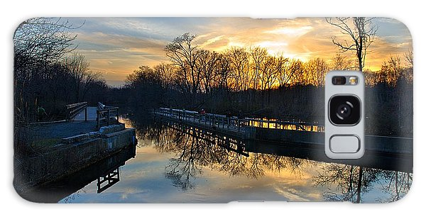 Sunset Over Scudders Mill Aqueduct Galaxy Case by Steven Richman