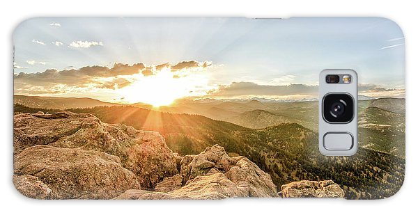 Sunset Over The Mountains Of Flaggstaff Road In Boulder, Colorad Galaxy Case by Peter Ciro