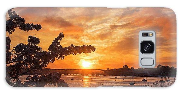 Sunset Over The Salem Beverly Bridge From The Salem Willows Salem Ma Galaxy Case