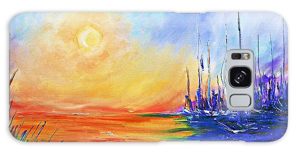 Sunset Over The Sea Galaxy Case by AmaS Art