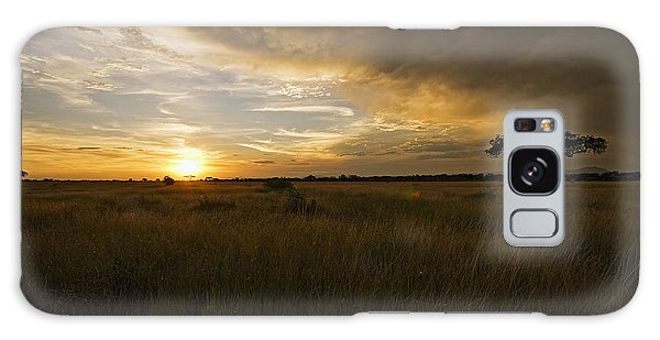 sunset over the Serengeti plains Galaxy Case