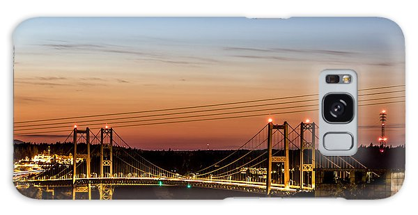 Sunset Over The Tacoma Narrows Bridges Galaxy Case