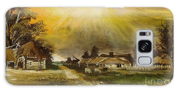 Sunset Over The Village Galaxy Case