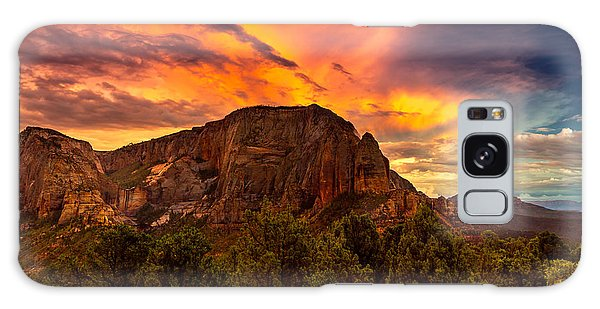 Sunset Over Timber Top Mountain Galaxy Case