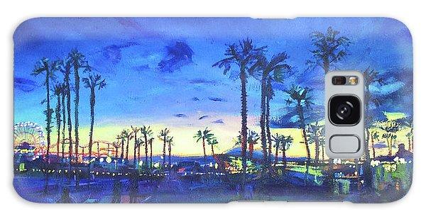 Sunset Palms Santa Monica Galaxy Case by Bonnie Lambert