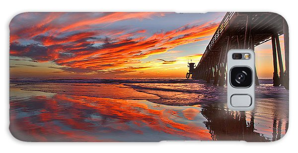 Sunset Reflections At The Imperial Beach Pier Galaxy Case
