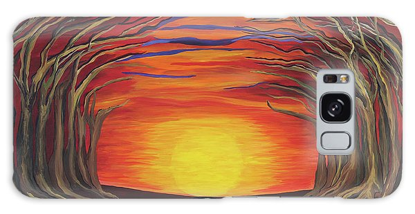 Treetop Sunset River Sail Galaxy Case