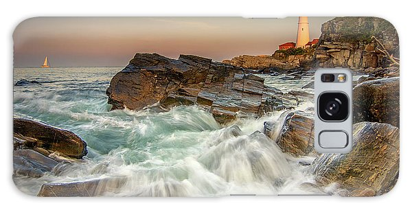 Sunset Sail At Portland Head Light Galaxy Case