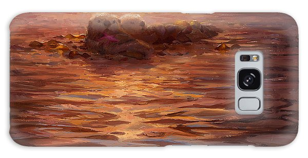 Sea Otters Floating With Kelp At Sunset - Coastal Decor - Ocean Theme - Beach Art Galaxy Case