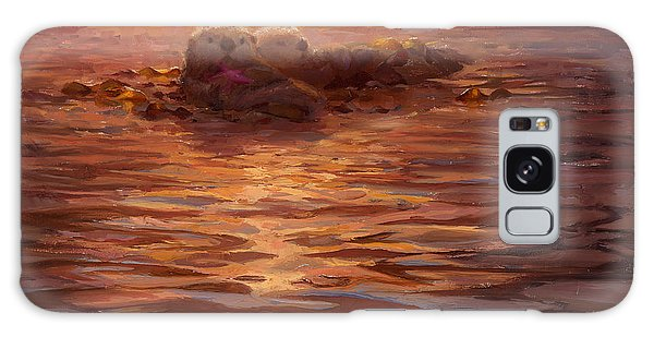 Otter Galaxy S8 Case - Sunset Snuggle - Sea Otters Floating With Kelp At Dusk by Karen Whitworth