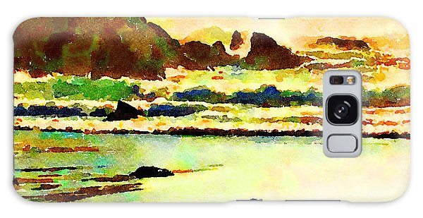 Galaxy Case featuring the painting Sunset Surf by Angela Treat Lyon