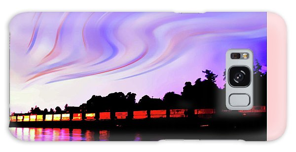 Sunset Train At Richmond Beach Washington Galaxy Case