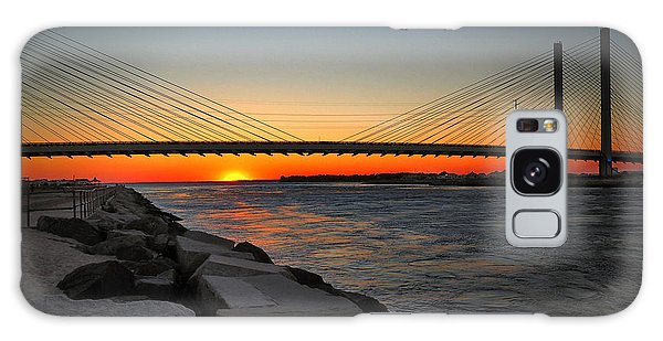 Sunset Under The Indian River Inlet Bridge Galaxy Case by Bill Swartwout