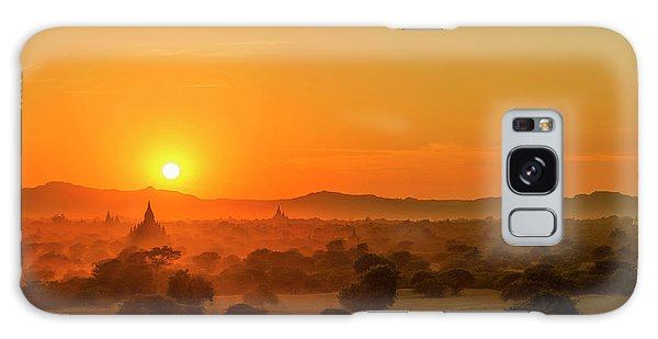 Sunset View Of Bagan Pagoda Galaxy Case