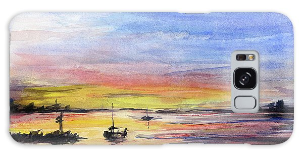 Marina Galaxy Case - Sunset Watercolor Downtown Kirkland by Olga Shvartsur
