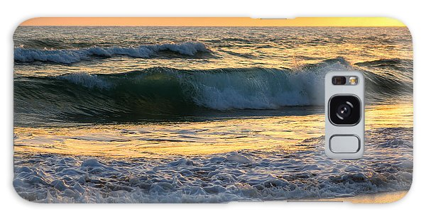 Sunset Waves Galaxy Case by Rebecca Hiatt