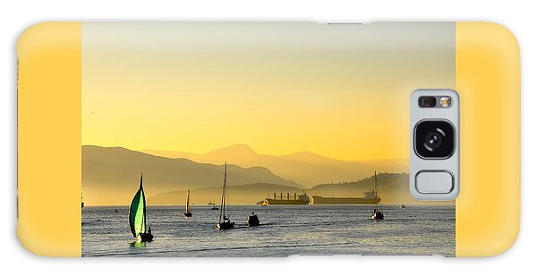 Sunset With Green Sailboat Galaxy Case