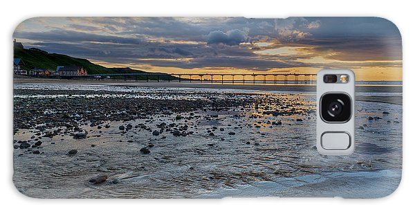 Sunset With Saltburn Pier Galaxy Case by Gary Eason