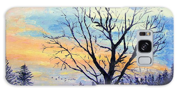 Sunset With The Geese Galaxy Case by Lisa Rose Musselwhite
