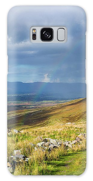 Sunshine And Raining Down With Rainbow On The Countryside In Ire Galaxy Case by Semmick Photo