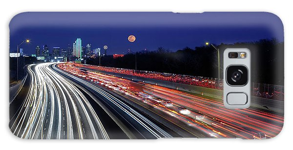 Super Moon And Dallas Texas Skyline Galaxy Case
