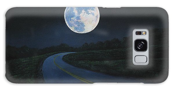 Super Moon At The End Of The Road Galaxy Case