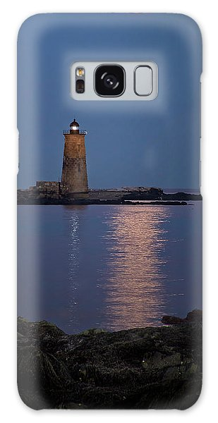 Super Moon Over Whaleback Lighthouse Galaxy Case