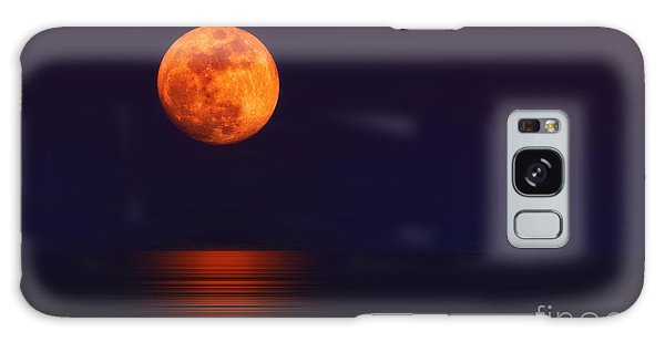 Super Moon Rising Over Water Galaxy Case by Charline Xia